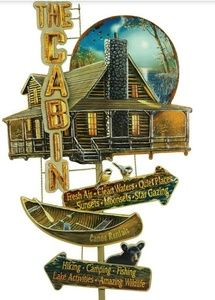 Life at the Cabin Embossed Tin Collage Sign, used for sale